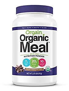 Orgain Organic Plant Based Meal Replacement Powder, Creamy Chocolate Fudge - 20g Protein, Vegan, Dairy Free, Gluten Free, Lactose Free, Kosher, Non-GMO, 2.01 Pound (Packaging May Vary)