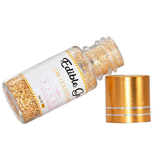 24K Edible Pure Gold Flakes and Sprinkles Metallic Gold Glitter Flakes for Cake