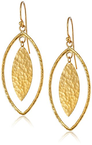 "GURHAN Willow Geo 24k Gold Marquise Drop Earrings, 2"""