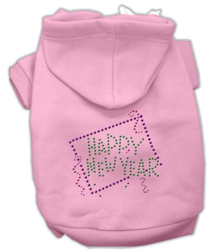 Mirage Pet Products 14-Inch Happy New Year Rhinestone Hoodies, Large, Pink