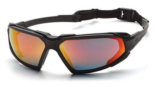 Pyramex Highlander Safety Eyewear, Sky Red Mirror Anti-Fog Lens With Black Frame