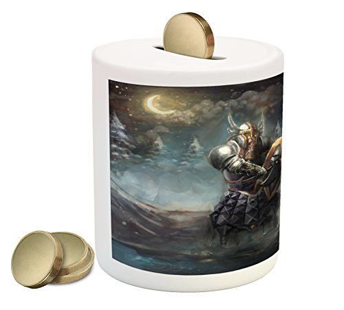 Ambesonne Fantasy Piggy Bank, Artistic Illustration of Medival Dwarf Knight in Gothic Shield in Mysterious Forest, Printed Ceramic Coin Bank Money Box for Cash Saving, (Gothic Shield)
