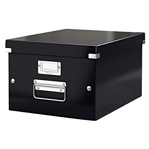 Leitz 60440095 Archivbox Click und Store mittel, Graukarton, schwarz