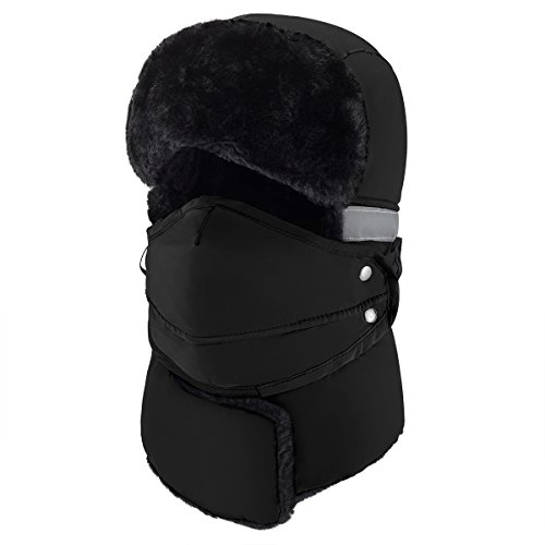 Mysuntown 2017 New Style Unisex Winter Trooper Trapper Hunting Hat Ushanka Ear Flap Chin Strap and Windproof Mask(Black Color)