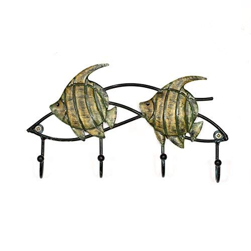 Tooarts Decorative Wall Mounted Key Holder Fish Wall Hook Iron Wall Hanger 4 Hanging Hooks Screws for Mounting Included