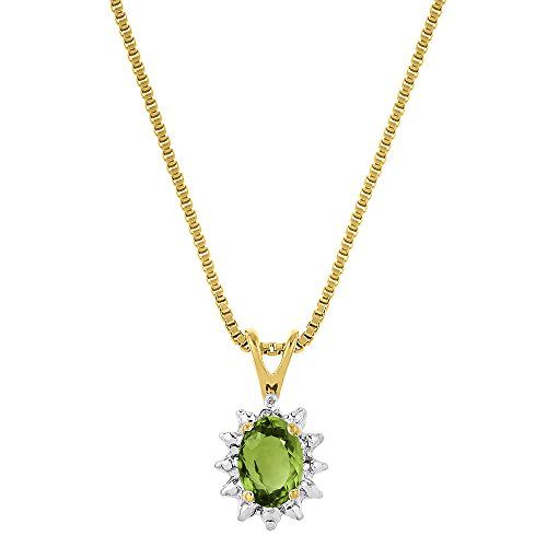 August Birthstone Pendant Necklace Peridot in 14K Yellow Gold or 14K White Gold