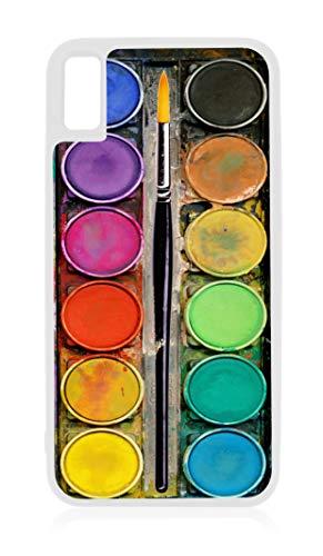 (Watercolor Paintbox Paint Palette with a Paintbrush Illusion Print White Rubber Case for iPhone XR - iPhone XR Phone Case - iPhone XR Accessories)