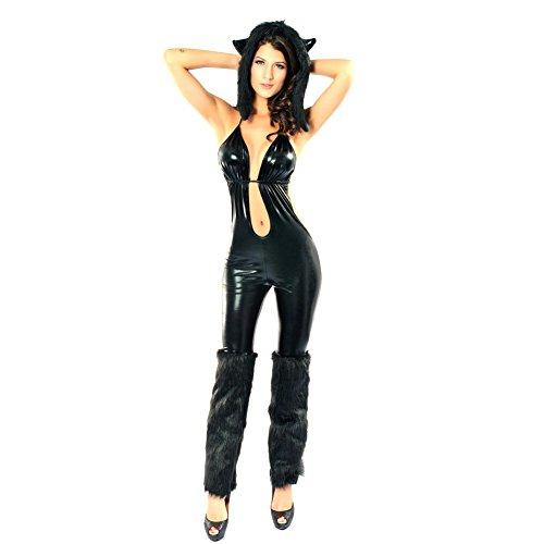 iecool Women's Black Cat Babe Sexy Costume Black One Size (Black Cat Babe Costume)