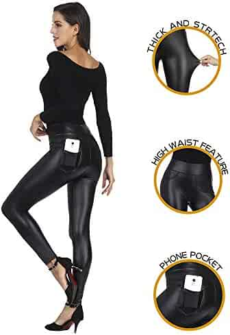 ac47304264b42 MCEDAR Women's Faux Leather Leggings with Pockets Plus Size Girls High  Waisted Sexy Skinny Pants