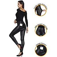 MCEDAR Women's Faux Leather Leggings with Pockets Plus Size Girls High Waisted Sexy Skinny Pants