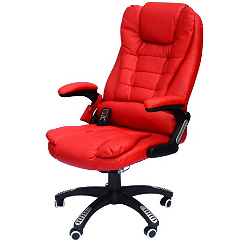 HomCom Executive Ergonomic PU Leather Heated Vibrating Massage Office Chair - Red