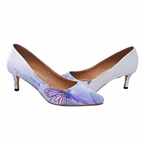Scarpe Da Donna Low Cost Con Tallone Gattino A Punta Appuntita Shoes Rose E Butterfly Multi 1