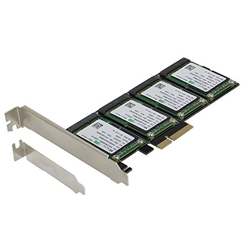 SEDNA - PCIe 4X - Quad mSATA SSD RAID Controller Card (RAID 0/1/10) Marvell HyperDuo Technology with Low Profile Bracket (SSD not included) by Sedna