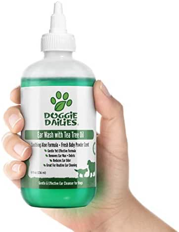 Doggie Dailies Pet Ear Cleaner, Tea Tree Oil, Witch Hazel and Soothing Aloe, Vet Formulated Ear Cleaner for Dogs and Cats, Gently Removes Wax and Debris, Reduces Odor, and Maintains Ear Cleanliness