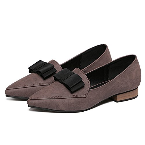 Btrada Womens Penny Loafers Chaussures Bowkont Plat Bout Pointu Bateau Chaussures Glisser Sur Conduite Mocassins Chaussures Marron