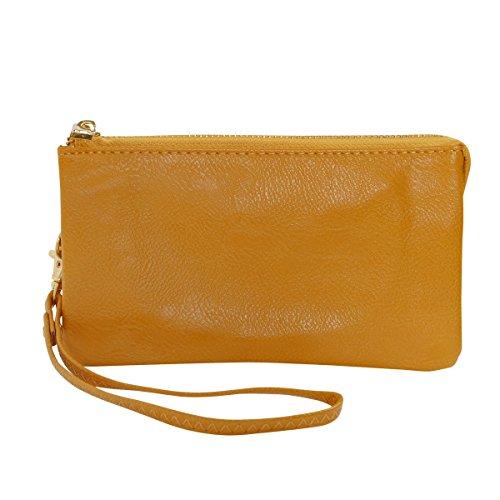 Humble Chic Vegan Leather Wristlet Wallet Clutch Bag - Small Phone Purse Handbag, Mustard Yellow, Bright Gold
