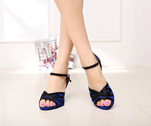 Minishion Qj6213 Femmes Haut Talon Bracelet Paillettes Chaussures De Danse Latine Bleu
