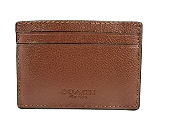 Coach Mens Money Clip Credit Card Case Leather Dark Saddle F75459