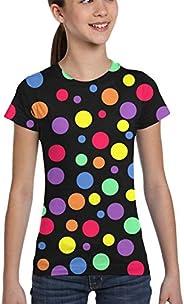 L6Nv4o@A Girls' Short Sleeve Multicolor Dots T-Shirts, Fashion Tunic Shirt, X