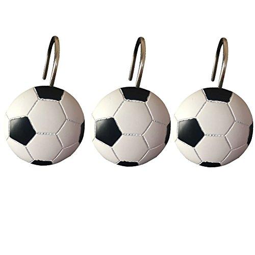 Doupoo Home Decorative Soccer Shower Curtain Hooks Set of 12 (Soccer)
