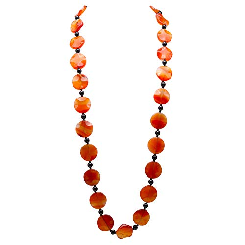 - JYXJEWELRY Beautiful Red Agate Long Necklace 25x28mm Discs Agate Beads Single Strand 39