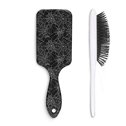 (Hair Brush Halloween Spider Web - Removes Knots and Tangles - Pain Free - Soft Fashion Comb for Adults & Kids Any)