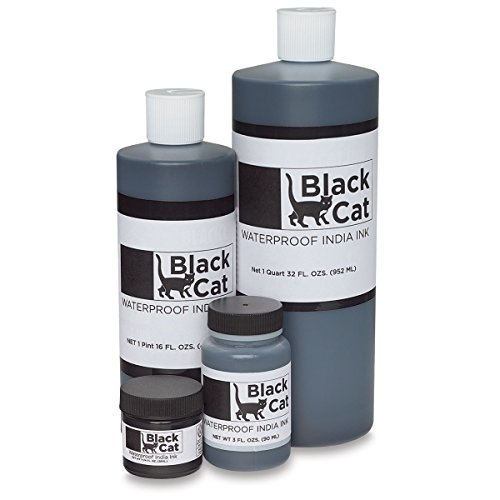 Black Cat Waterproof India Ink - Pint (Black Tattoo Ink 16oz)