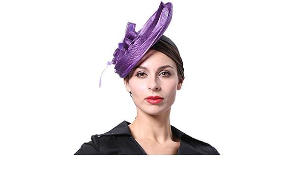 June  s Young Mujer - Tocado Novia sombrero pelo con cabeza de Muelle joyas  tocado para Boda Carnaval ocasión sombrero sombrero boda morado Talla  única  ... bcf7ab3bb7c