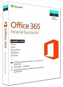 Microsoft Office 365 Personal para Windows y Mac - 1 Usuario Pc/Mac + 1 usuario Tableta