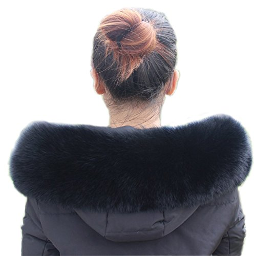 - SPRINGWIND Women Real Fox Fur Collar Black Shaggy for Coat Hood Scarf Shawl