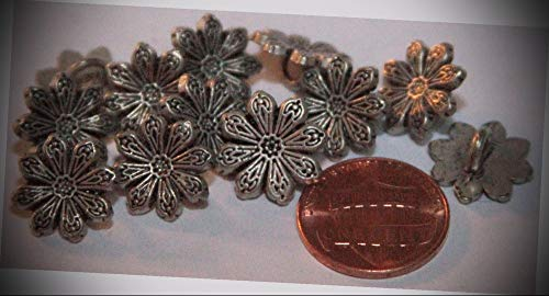 (JumpingLight 12 Silver Tone Metal Buttons Daisy Flower 9/16'' 14mm 5780 Perfect for Crafts, Scrap-Booking, Jewelry, Projects, Quilts)