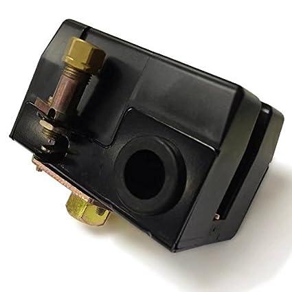 kingfurt Interruptor de presión para compresor de aire 90 - 125 PSI puerto único de Heavy Duty 26 A, equivalente a Hubbell Furnas cuadrado D Siemens Dewalt ...