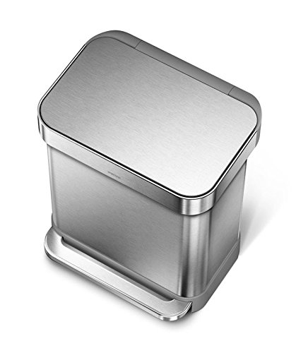 simplehuman 30 Liter / 8 Gallon Stainless Steel Rectangular Kitchen Step Trash Can with Liner Pocket, Brushed Stainless Steel