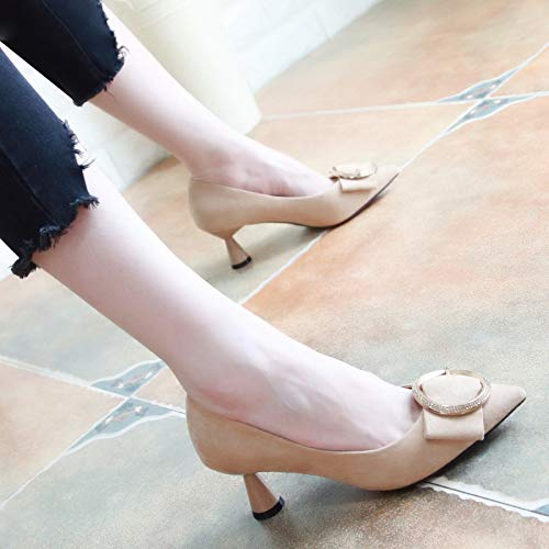 Shoes Bow Wild Heel Pointy Middle Heel KPHY Shallow Diamond Women'S Beige Suede Five Autumn Fashion Shoes Thirty tRXqnRPE0