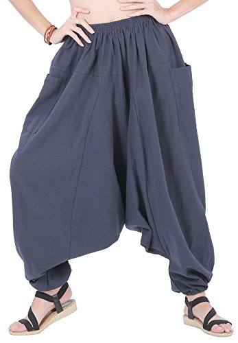 CandyHusky Men Women 100% Cotton Loose Baggy Boho Gypsy Aladdin Yoga Harem Pants (Blue)