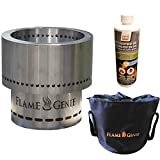 Rockford Chimney Supply Flame Genie Fire Pit – Regular Size Stainless Steel Wood Pellet Fire Pit with Tote & Fire Gel