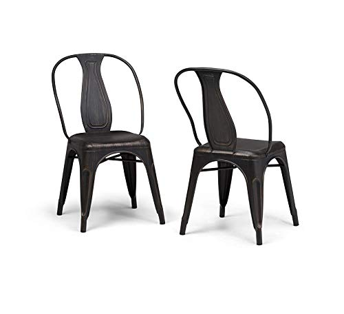 Wood & Style Furniture Merritt Industrial Metal Dining Arm Chair (Set of 2) in Distressed Black, Copper, Fully Assembled Home Office Commerial Heavy Duty Strong Décor (Home Furniture Merritt)