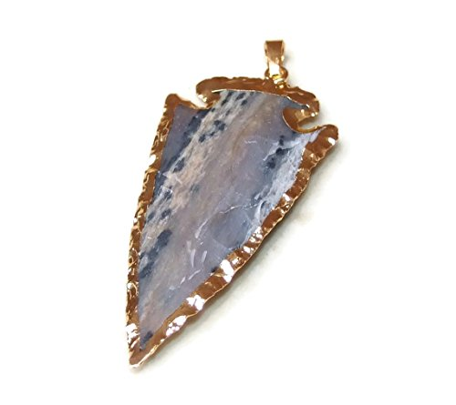 Large Jasper Arrowhead Pendant. Arrow Pendant - Gold Plated Edge - Jasper Pendant - 45mm - 50+mm