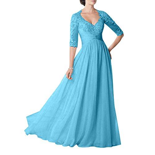 Glamour Abendkleider Ballkleider Damen Chiffon Blau Charmant Brautmutter Langarm Hochzeits Partykleider Formal Fuer Spitze gOxw5qa