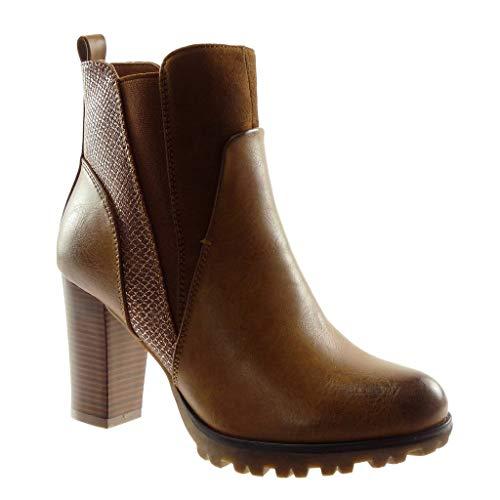 Platform Angkorly Booty Heel Women's cm Material Boots Camel Chelsea high Block Ankle Snakeskin Shoes 9 Boots Fashion Elastic bi HvBHr