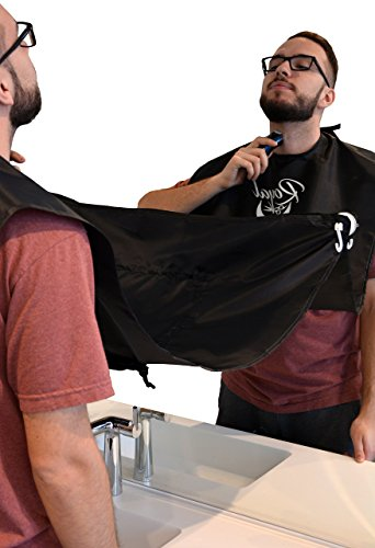 Premium Beard Apron Beard Catcher by Royal Barber - Beard Bib & Facial Hair Catcher - Black & White