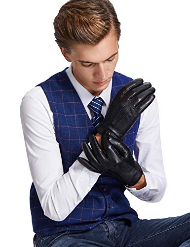 Sheeper Men's Touchscreen Texting Genuine Leather Driving Gloves Motorcycle Gloves (Black) M by Sheeper (Image #3)