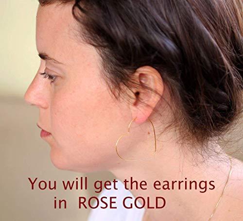 """Rose Gold Hoop earrings, Big heart open hoop, 21 gauge wire, handmde, Nickel Free, Diameter 1.72"""""""""""