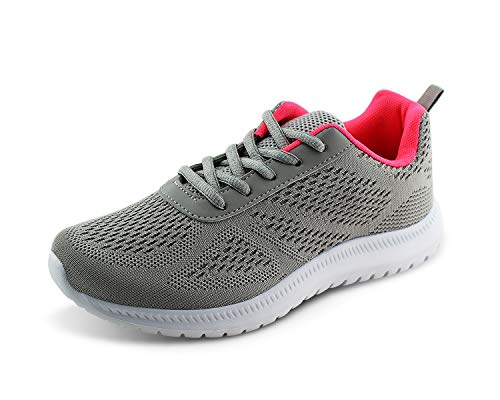 Sports Sneaker Good - Jabasic Women's Breathable Knit Sports Running Shoes Casual Walking Sneaker (Grey,7)