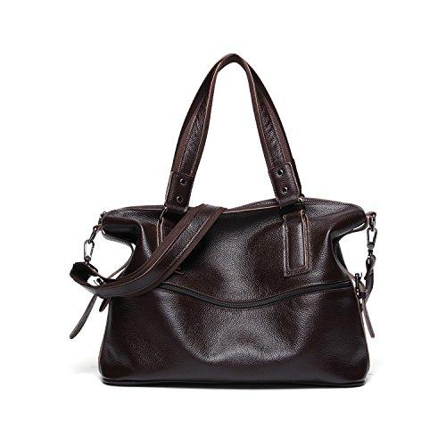 Bag Messenger Shoulder Men Men Capacity Bag Genuine Casual Bag Leather Brown High Dark B1qEw0qx