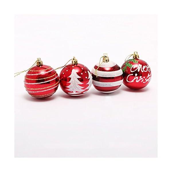 Venkaite Palla di Natale Ornamenti, Albero di Natale Palla Decorazioni per Alberi di Natale, Nozze, Partito Decorazione (24 / Pacchetto, Pallina Verniciata, 2.36 Pollici 60mm), Rosso 4 spesavip