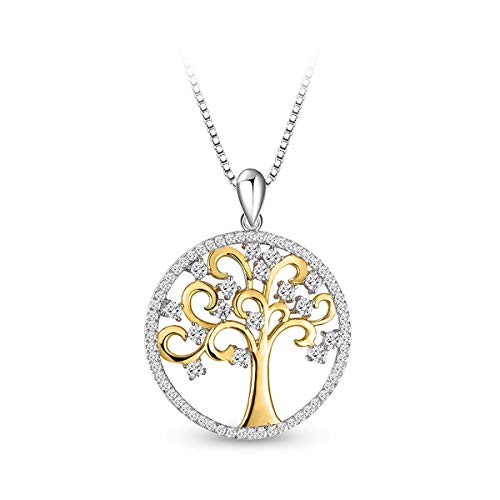 Loving Silver Sterling Pendant Family (T400 925 Sterling Silver Necklace Tree of Life Golden Cubic Zirconia Pendant Women Family Gift For Mom)