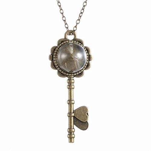 Superhai Dandelion Vintage Bronze Key Necklace Glass Necklace - Glasses Tiffany Key