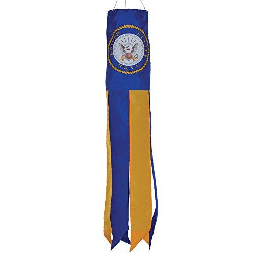 In the Breeze U.S. Navy Emblem Windsock, 30-Inch - Navy Blue Kite