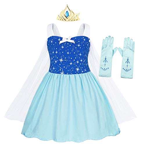 AmzBarley Elsa Costume for Girls Toddler Kids Halloween Fancy Dress up Princess Birthday Party Cosplay Outfit Preschool Role Play Clothes with Crown and Gloves Size 3T(2-3Years)